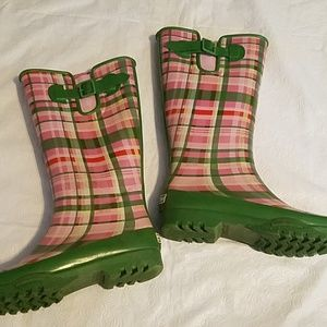 Sperry Top-Sider Pink & Green Rubber Boots Sz 7M